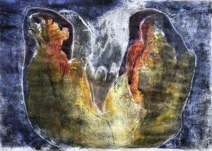 Zwei Gestalten in einer Hülle, Monotypie, Öl, Pastell auf Papier, 29,5x42cm, 2019