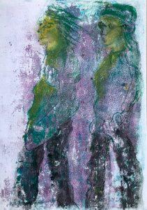Zwei Gestalten von der Seite, Monotypie, Pastell, Kohle auf Papier, 42x29,7cm, 2019