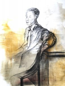 Kohlezeichnung auf farbigen Hintergrund von einem auf dem Stuhl sitzenden Mann, der besinnlich wirkt.