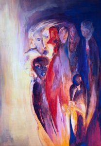 Eine Gruppe von Gestalten , von links gleißendes Licht.