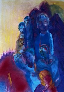 Eine Gruppe von Gestalten, darunter zwei Paare, im Hintergrund rollähnliche Wesen, im Vordergrund eine kleine leuchtende Gestalt, die die Gruppe beobachtet.