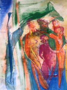Eine Gruppe von Gestalten sind umrahmt von einer Maria- und Jesusfigur.
