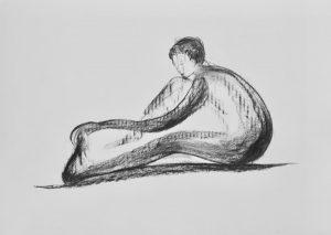Kohlezeichnung von einem sitzenden Akt
