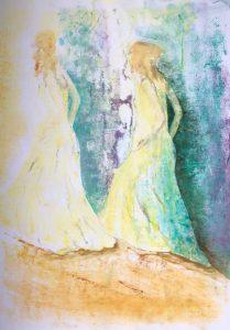Zwei Gestalten in gelben Gewändern gehen hintereinander einen Berg ins Licht hinauf.