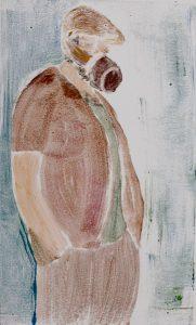Mann mit Nutellaglas als Maske, Monotypie