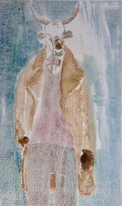 Mann mit Ziegenbockmaske, Monotypie